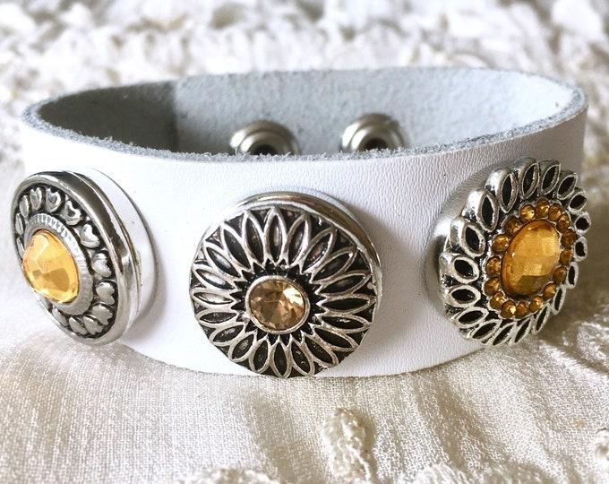 White Snap Button Bracelet, Leather Bracelet, Snap Chunks, Yellow Snaps, Snap Buttons