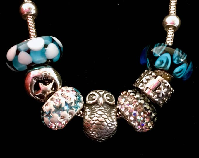 Sterling Silver Charm Bracelet, Owl Charm, Murano Glass Beads, Star and Moon Charm, European Beads, Charm Bracelet