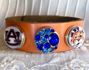 Snap Button Bracelet, Auburn Bracelet , Orange Leather Bracelet, Snap Charm