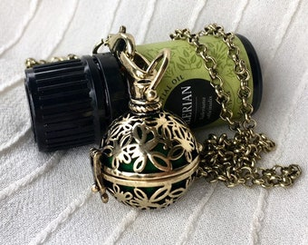 Aromatherapy Necklace, Silver Diffuser Locket,  Butterfly Locket, Essential Oils Necklace