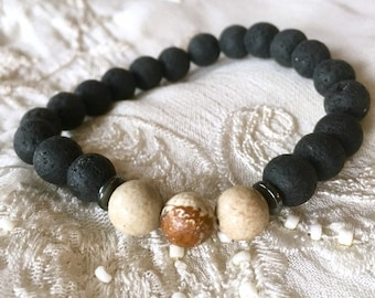 Aromatherapy Bracelet, Black Lava Beads Bracelet, Diffuser Bracelet, Essential Oils Bracelet