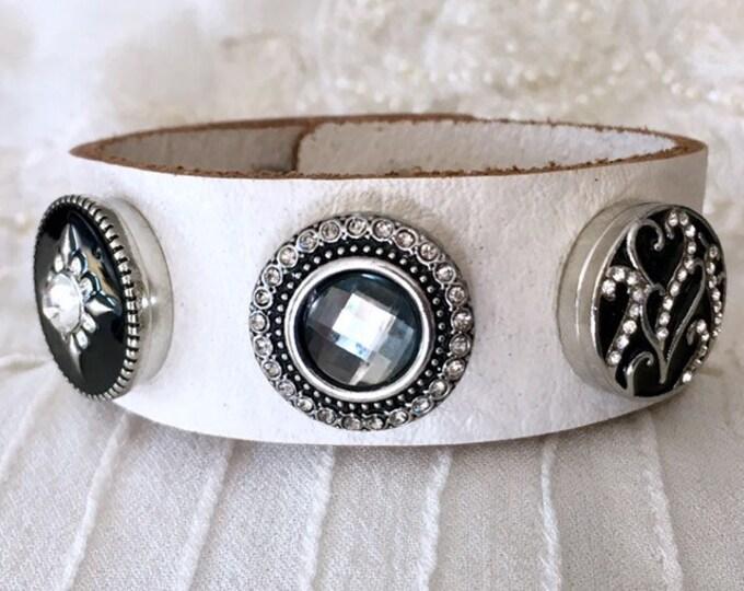 Noosa Style Bracelet, White Leather Bracelet, Noosa Chunks, Snap Buttons, Charm Bracelet
