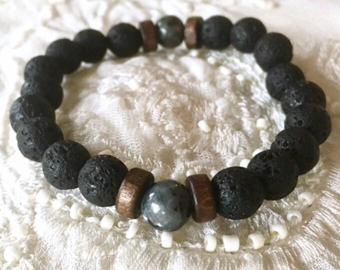 Essential Oils Bracelet, Aromatherapy Bracelet, Black Lava Beads, Oils Diffuser Bracelet, Healing Bracelet, Yoga Bracelet