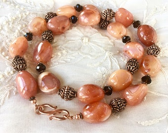Agate and Crystals Copper Necklace, Gemstones Necklace, Copper Beads, Brown Crystal Beads, Agate Necklace, Chunky Necklace