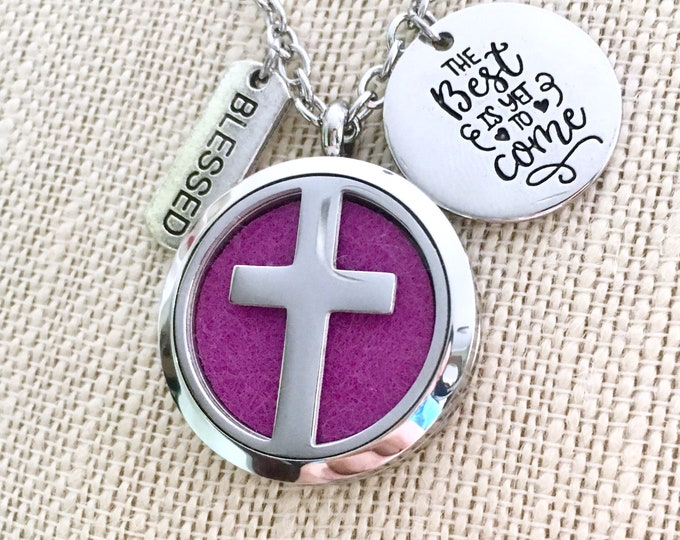 Aromatherapy Necklace, Essential Oils Diffuser Locket, Cross Necklace, Aromatherapy Diffuser Necklace