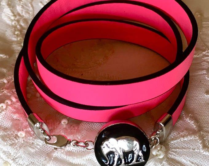Snap Button Bracelet, Leather Bracelet, Elephant Snap