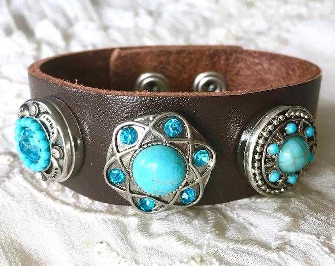 Brown Leather  Bracelet, Noosa Style Bracelet, Chunks, Snap Charms, Snap Buttons, Charm Bracelet, Turquoise Snaps