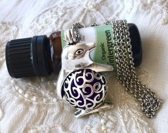 Essential Oils Locket, Penguin Diffuser Necklace, Aromatherapy Locket