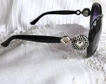 Snap Button Sunglasses, Black Sunglasses, Snap Charms Sunglasses