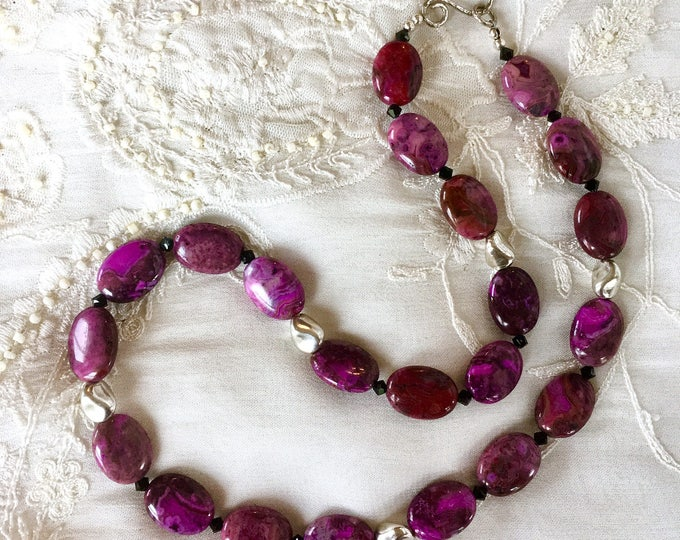 Agate and Sterling Silver Necklace, Beaded Necklace, Purple Necklace, Gemstones Necklace