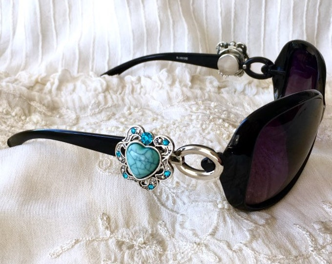 Snap Button Sunglasses, Black Sunglasses, Snap Charms Accessories, Noosa Style Snaps