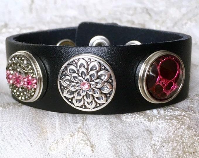 Black Leather Bracelet, Noosa Style Bracelet, Pink Snap Buttons, Ginger Snaps, Noosa Chunks, Snap Charms Bracelet