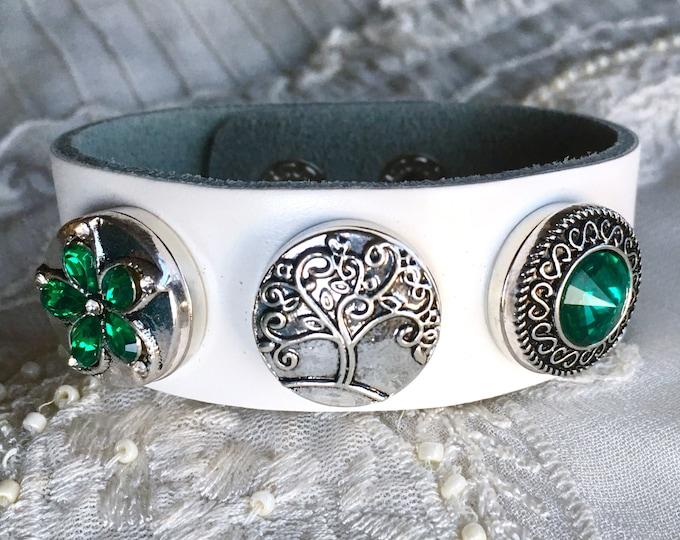 Snap Button Bracelet, White Leather Charm Bracelet, Noosa Snaps