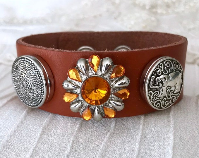 Noosa Style Charm Bracelet, Light Brown Leather, Snap Charms, Snap Buttons, Leather Bracelet