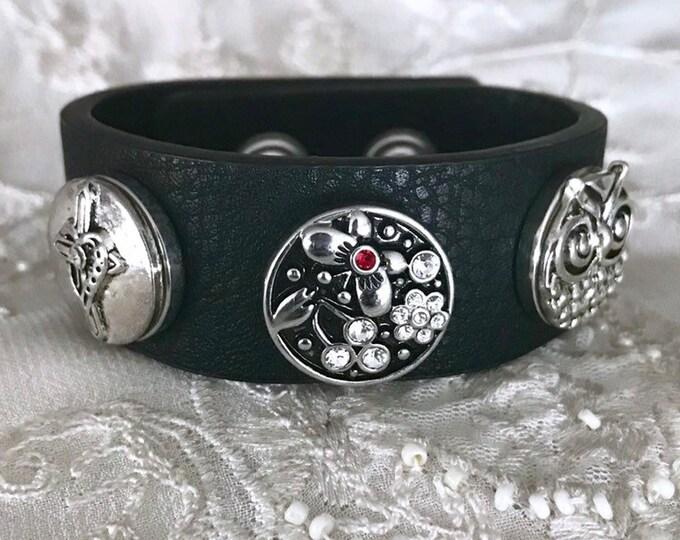 Noosa Style Owl Charm Bracelet, Snap Button Bracelet, Cross Snap Chunks, Black Leather