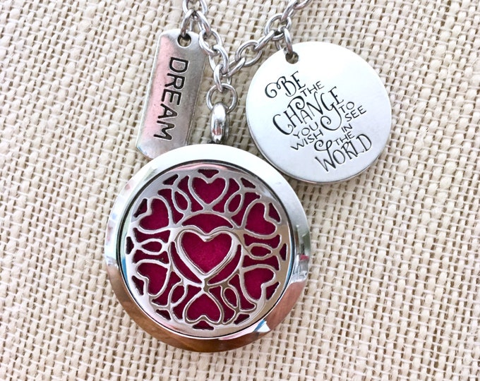 Aromatherapy Necklace, Essential Oils Locket, Diffuser Necklace, Scent Pendant Necklace