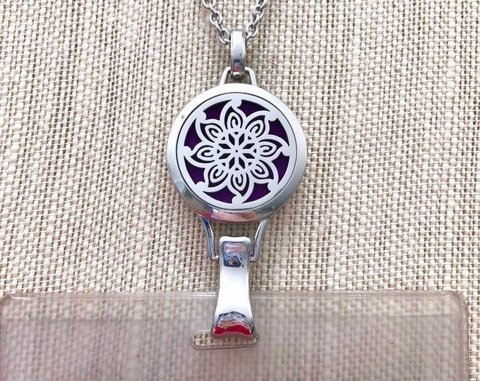 Badge Holder Diffuser, Essential Oils Locket Necklace, Aromatherapy ID Card