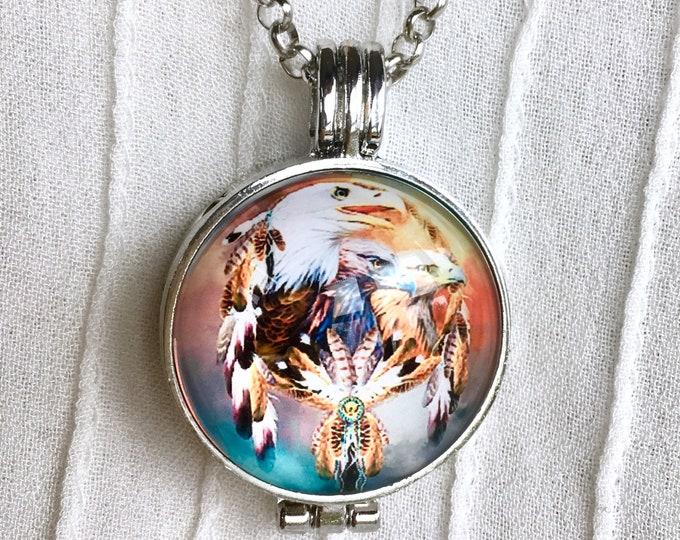 Essential Oils Necklace, Diffuser Locket, Aromatherapy Necklace, Dreamcatcher Locket