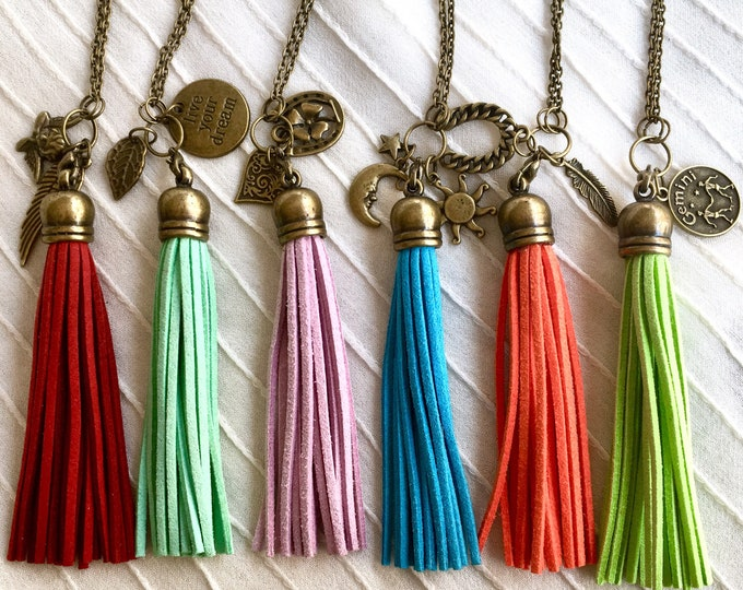 Diffuser Necklace, Aromatherapy Necklace, Tassel Necklace, Charms Necklace