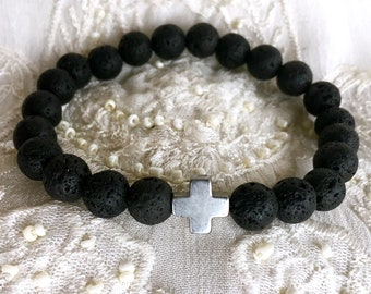 Aromatherapy Bracelet, Black Lava Rock Bracelet, Yoga Bracelet, Diffuser Bracelet, Essential Oils Bracelet