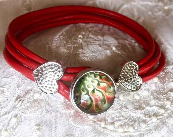 Noosa Style Bracelet, Braided Leather, Ginger Snap, Snap Button, Red Leather, White Leather, Snap Charm Bracelet