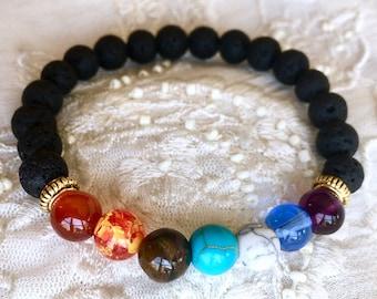 Diffuser Bracelet, Black Lava Rock Beads, Chakra Bracelet, Essential Oils Bracelet, Yoga Bracelet
