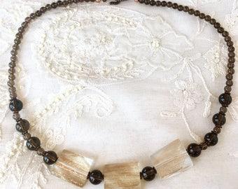 Smoky Quartz and Copper Necklace, Gemstones Necklace, Quartz Necklace, Copper Necklace
