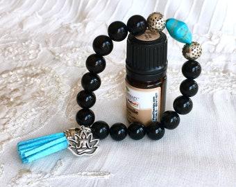 Aromatherapy Bracelet, Tassel Diffuser Bracelet, Onyx Beaded Bracelet, Essential Oils Bracelet, Yoga Charm