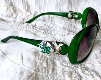 Snap Button Sunglasses, Snap Charms, Green Sunglasses, Noosa Style Snaps