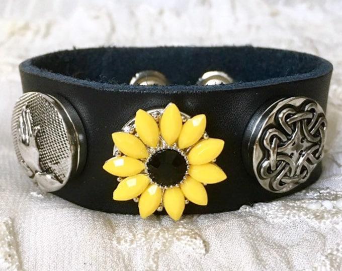 Noosa Snap Buttons Bracelet, Sunflower Snap Chunks, Black Leather Bracelet