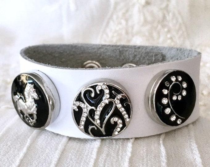 Leather Bracelet, Snap Button Bracelet, Horse Snap Chunks, Noosa Style Bracelet, White Leather