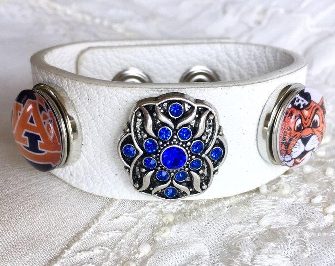 Leather Bracelet, Noosa Style Bracelet, Auburn, Snap Buttons, Ginger Snaps, White Leather, Chunks, Charm Bracelet