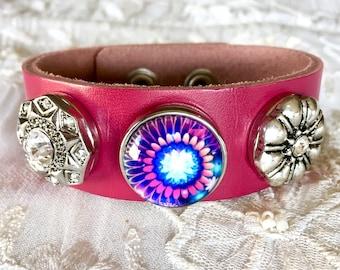 Pink Leather Bracelet, Snap Button Bracelet, Noosa Snaps, Snap Charms