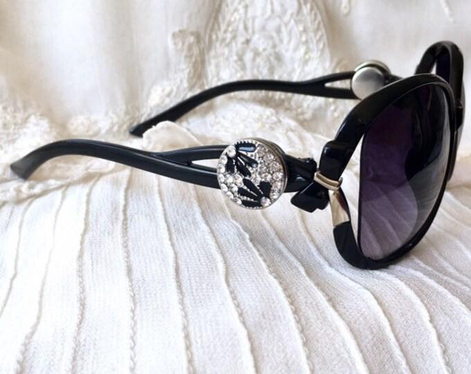 Snap Button Sunglasses, Black Sunglasses, Noosa Snaps, Snap Charm