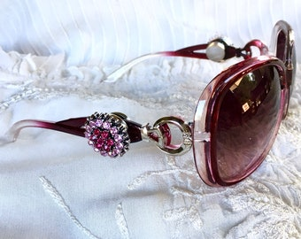 Snap Button Sunglasses, Snap Charms Sunglasses, Pink Sunglasses