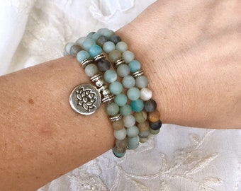 108 Mala Beads, Amazonite Stretch Bracelet, Meditation Yoga Bracelet, Lotus Charm