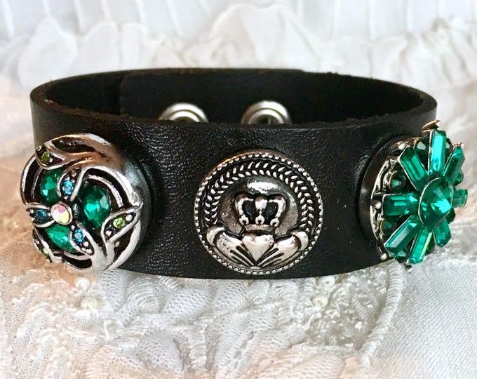 Snap Button Bracelet, Noosa Snaps, Green Snap Charms, Black Leather Bracelet, Snap Chunks