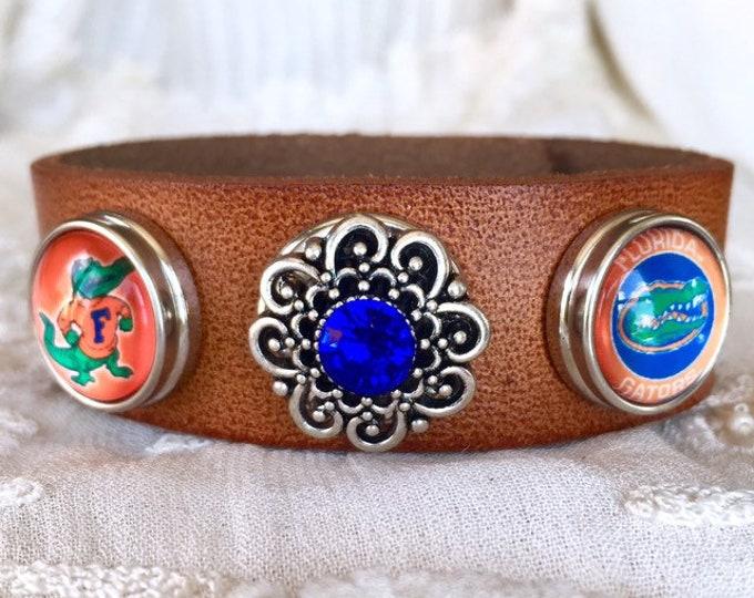 Snap Leather Bracelet, Florida Gators Charm Bracelet, Snap Buttons, Snap Chunks, Noosa Style