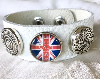 Snap Button Bracelet, Charms Bracelet, Snap Charms,White Leather Bracelet