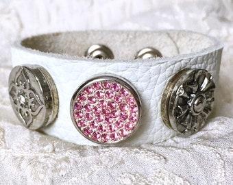 White Leather Bracelet, Elephant Charm, Noosa Style Bracelet, Snap Buttons, Ginger Snaps, Snap Chunks, Snap Charm Bracelet