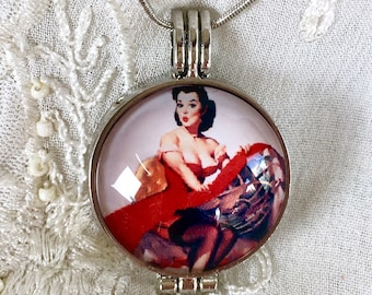 Diffuser Necklace, Aromatherapy Locket, Essential Oils Necklace, Elvis Locket, Pinup Locket