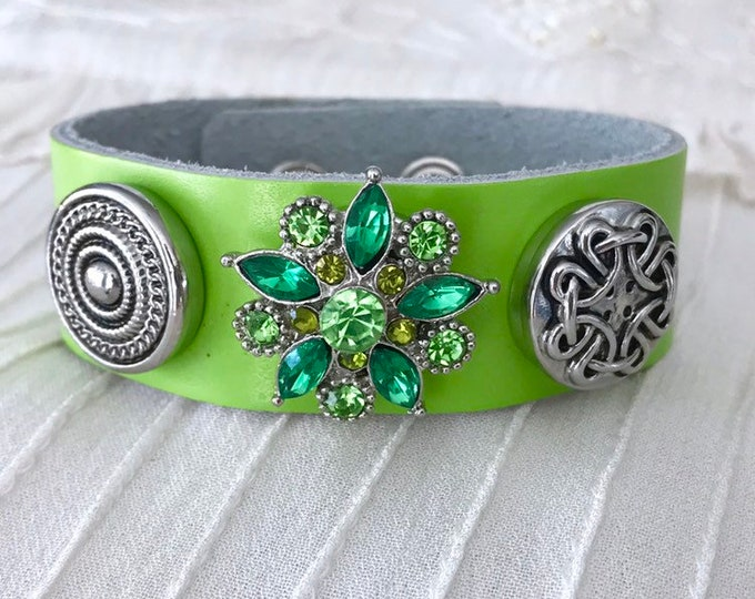 Noosa Style Charm Bracelet, Lime Green Leather, Snap Charms, Snap Buttons, Leather Bracelet