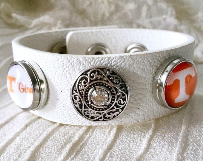 Snap Button Bracelet, Noosa Style Bracelet, Tennessee White Leather Bracelet, Snap Buttons