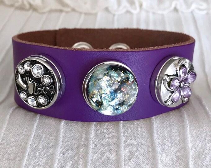 Noosa Style Bracelet, Purple Leather Bracelet, Noosa Snaps, Snap Buttons, Snap Chunks, Snap Charm Bracelet