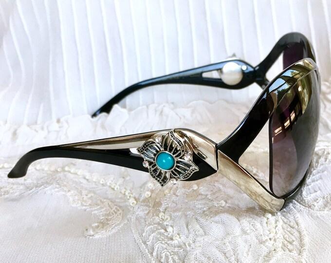 Snap Button Sunglasses, Noosa Style Sunglasses, Snap Charms, Black Sunglasses