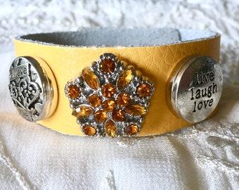 Gold Leather Bracelet, Crystal Snap, Noosa Style Bracelet, Snap Buttons, Snap Charms, Charm Bracelet
