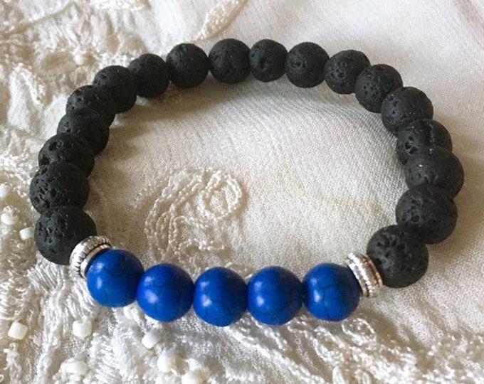 Aromatherapy Bracelet, Diffuser Bracelet, Essential Oils Bracelet, Black Lava Beads, Healing Bracelet