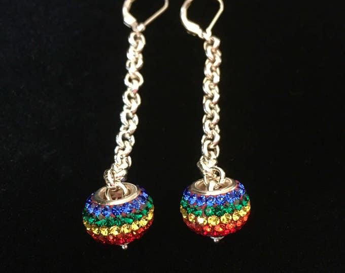 Sterling Silver Earrings, Rainbow Crystals Beads, Add a Bead Earrings, Dangle Earrings, Large Hole Beads, Eropean Beads