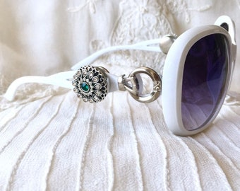 Snap Button Sunglasses, White Sunglasses, Snap Charms Sunglasses