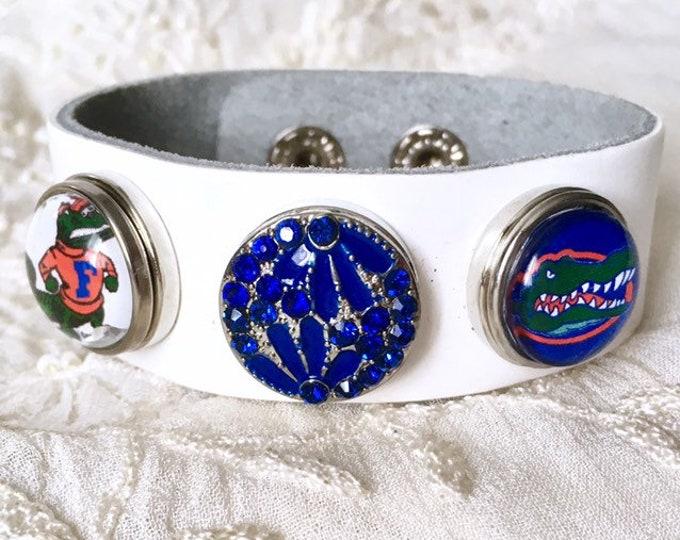Leather Bracelet, Noosa Style Bracelet, Florida Gators, Snap Buttons, Charm Bracelet, White Leather